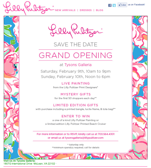 Lilly Pulitzer Grand Opening in Northern VA!!